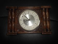COLLECTABLE WESTCLOX CLOCK METAL BACK WIND UP WORKING FINE ORNATE WOODEN CASE